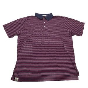 Peter Millar  Pink Navy Striped S/S Polo Shirt L